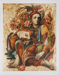 Oleg Zhivetin Lovers With Flowers Embellished Screenprint Signed And Numbered
