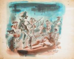 Marshall Goodman Sword Fight 389 Watercolor On Paper