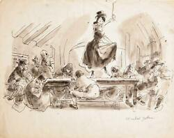 Marshall Goodman, Nancy Dancing On Tavern Table 399, Watercolor On Paper, Sign