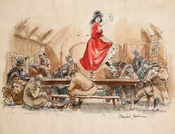 Marshall Goodman Nancy Dancing On Tavern Table For Oliver Color 398 Waterc