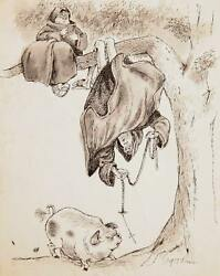 Marshall Goodman Pig With Monks In Tree Ii Watercolor And Ink On Paper Signed