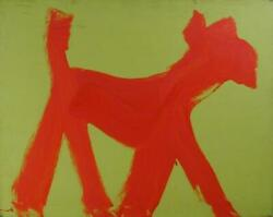 Peter Mayer Dog Red On Yellow 19 Acrylic On Canvas