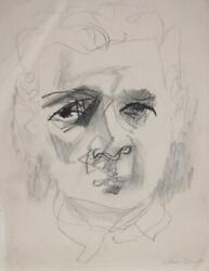 William Barnett Portrait With Dark Eyes Charcoal On Paper Signed L.r.