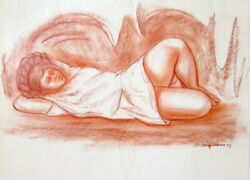 Raul Anguiano Muchacha En Una Cueva Pastel On Paper Signed And Dated L.r.