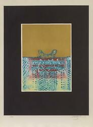 Arun Bose Untitled - Blue Abstract On Gold Etching With Aquatint Signed And N
