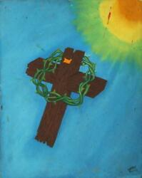 La'roy Fleming, Untitled - Crown Of Thorns, Oil On Canvas Board, Signed Lower Ri