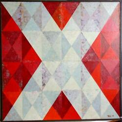 Dan Teis White X On Red Acrylic Collage On Canvas Signed L.r.