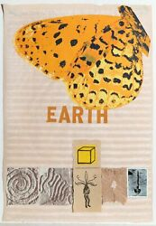 Joe Tilson Earth Collaged Media On Paper Signed And Dated In Pencil