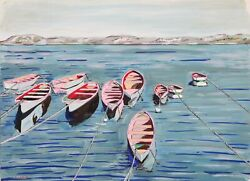 Biagio Civale Row Boats Acrylic On Paper Signed L.r.