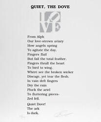 Robert Indiana The Book Of Love Poem - Quiet The Dove Screenprint With Letter