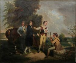 Unknown Artist Hunting Meeting Oil On Canvas