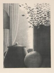 Robert Kipniss Curtains And Leaves Lithograph Signed And Numbered In Pencil