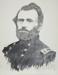 Greenlund General Ulysses S. Grant Graphite On Paper Signed