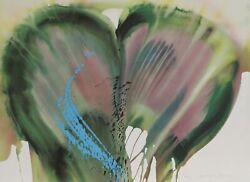 Lamar Briggs Green And Purple Petals Lithograph Signed And Numbered In Pencil