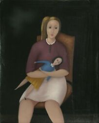 Branko Bahunek Girl And Her Doll Oil On Canvas