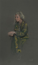 Harry Mccormick, Blonde In Yellow Robe, Pastel On Paper, Signed L.r.