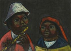 Arturo Nieto, Boy Playing Flute With Girl, Gouache On Paper