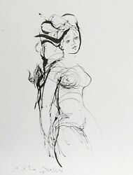 Madeleine Scellier Untitled - Nude Portrait 6 Ink On Paper Signed