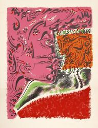 Andre Masson Untitled Visage Lithograph On Arches Signed And Numbered In Pe