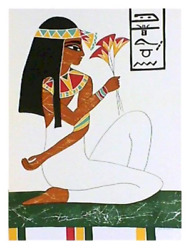 Gina Lombardi Bratter Egyptian Goddess With Flower Lithograph Signed And Numb