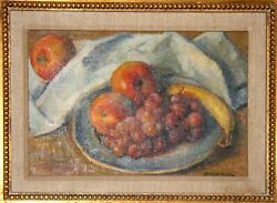 Robert Brackman A Plate Of Fruit Oil On Canvas Signed L.r.