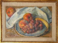 Robert Brackman, A Plate Of Fruit, Oil On Canvas, Signed L.r.
