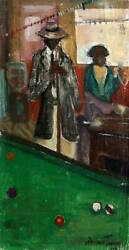 Andrew Turner Pool Shark Oil On Canvas Mounted To Wood Signed