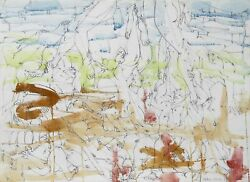 Dimitri Petrov, Untitled - Reaching Figures, Pencil With Watercolor On Paper, Si