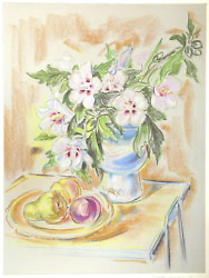 Charles Blaze Vukovich, Rose Of Sharon With Fruit, Pastel On Paper