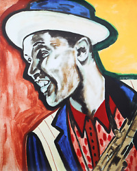 Frederick J. Brown Dexter Gordon Screenprint Signed And Numbered In Pencil