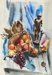 Eve Nethercott Still Life With Basket And Statue P6.53 Watercolor On Paper