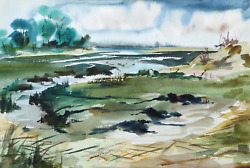 Eve Nethercott, Stony Brook P4.15, Watercolor On Paper