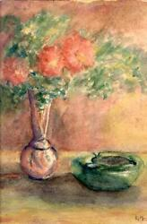 Pat Mann Still Life With Flowers And Ashtray Watercolor On Paper