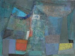 Miriam Bromberg Cubist Abstract Ii Oil On Canvas Signed L.r.