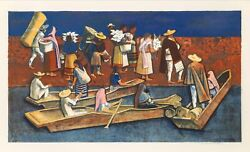Millard Owen Sheets Mexican Travelers Lithograph Signed And Numbered In Penci