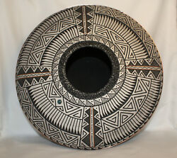 Native American Flat Pot With Copper Accent By Gerald Pinto, Navajo