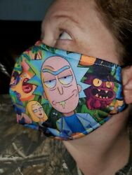 Homemade Fabric Reusable Face Mask washable rick and morty collage