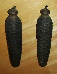 2 Large Vintage Cuckoo Clock Weights Railroad Black Forest Germany Or Usa