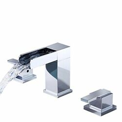 Chrome Brass Widespread Bathroom Sink Faucet Waterfall Spout Hot/cold Basin Tap