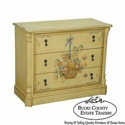 Drexel Heritage Yellow Floral Paint Decorated Chest Of Drawers