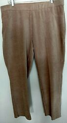Alfred Dunner Cotton Blend Eskimo Kiss Solid Tan Pants Size 18p