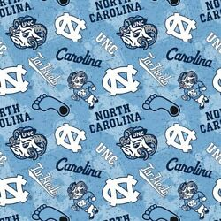 North Carolina UNC Tar Heels Cotton Fabric Tone on Tone Print By the Yard $9.99