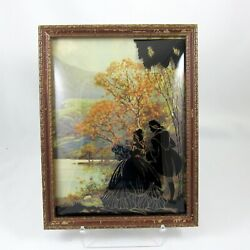 Silhouette Picture Woman And Man Vintage Bubble Convex Glass Black Reverse Painted