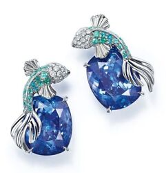 925 Sterling Silver 25mm Height Earring Angel Fish Studs Cushion Blue Cz
