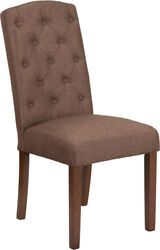 Midcentury Hercules Grove Park Series Brown Fabric Tufted Parsons Chair