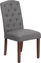 Midcentury Hercules Grove Park Series Gray Fabric Tufted Parsons Chair