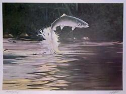 Bill Elliott, Jumping Trout, Lithograph, Signed And Numbered In Pencil