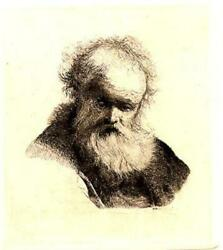 Rembrandt Van Rijn Bust Of An Old Man With Flowing Beard And White Sleeve Etch