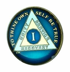 1 Year Midnight Blue Aa Medallion Chip Tri Plate Gold And Nickel Plated Serenit...