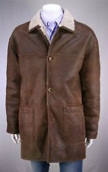 Seraphin France Brown Antique Leather W/ Shearling Lined 3/4 Length Coat 42/l